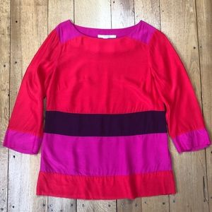 Boden Colorblock 3/4 Sleeve Pull-over Blouse